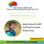 017: Trudy Scott, CN: Anxiety's Role in ASD, ADHD and SPD and How Nutrient Therapy can Help